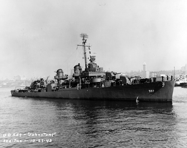 USS Johnston (DD-557) in 1943. (U.S. Naval History and Heritage Command)