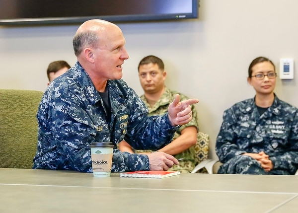 Navy leaders, such as Vice Adm. Michael Gilday (pictured), want the service able to make decisions faster than U.S. adversaries. (Petty Officer 2nd Class Robert A. Hartland/Navy)