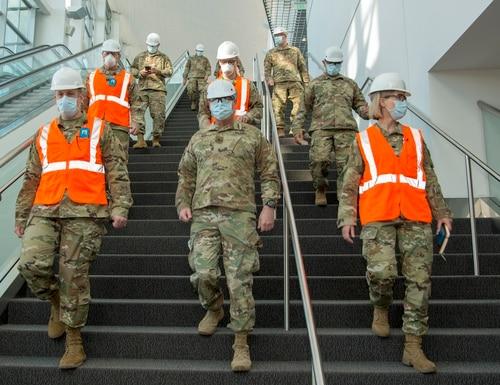 Brig. Gen. Douglas Paul, center, tours the Colorado Convention Center in Denver, April 20, 2020, where the state's Guardsmen served during the coronavirus pandemic. (Senior Master Sgt. John Rohrer/Air Force)