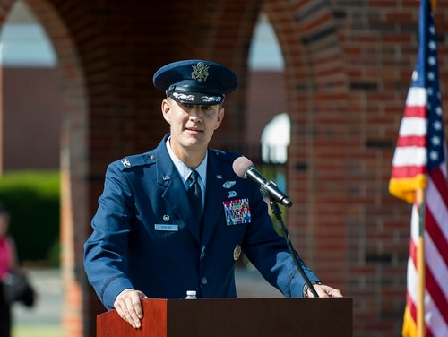 Col. John Howard speaks after taking command of the 375th Air Mobility Wing on July 24, 2017, at Scott Air Force Base, Ill. Howard was relieved of command in December after just five months in the job. (Staff Sgt. Clayton Lenhardt/Air Force)