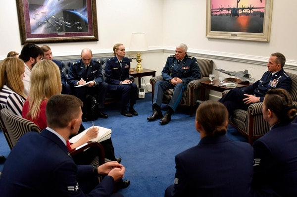 Air Force Chief of Staff Gen. Dave Goldfein and commander of the Ukrainian air force General-Colonel Sergii Drozdov talk to members of the press during a press conference at the Pentagon on Nov. 8. (Wayne Clark/Air Force)