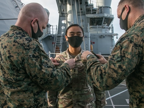 First Lt. Rio Sarmiento, assigned to the 16th Space Control Squadron, was administered the oath of office into the United States Space Force by Col. Michael Nakonieczny, commanding officer of the 31st MEU, aboard amphibious assault ship America (LHA 6). (Lance Cpl. Brienna Tuck/Marine Corps)