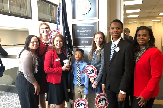 Cheryl Lankford (far right) and her son, Jonathan Jr. (second from right) pause with other volunteers with the Tragedy Assistance Program For Survivors who were lobbying lawmakers on Capitol Hill in March 2019. Cheryl's husband died while serving with the Army in Iraq. She died in May due to cancer. (Photo courtesy of TAPS)