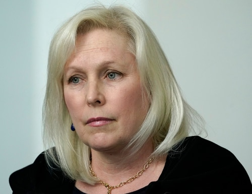 In this March 14, 2021, file photo, Sen. Kirsten Gillibrand, D-N.Y., speaks during a news conference in New York. (Seth Wenig/AP)