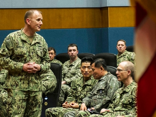 Master Chief Petty Officer of the Navy (IW/SG) Steven S. Giordano talks to sailors during an all hands call at Fleet Activities Chinhae Naval Base. Giordano, speaking to reporters after the all-hands call, lent verbal support to transgender sailors. (Airman 1st Class Alexandria Crawford/Air Force)