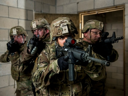 Infantrymen clear a room during a drill at Joint Base McGuire-Dix-Lakehurst, N.J. The Army needs new weapons, new night-vision and new protective systems to have any edge over the adversary, says the commander of Army Training and Doctrine Command. (Master Sgt. Michel Sauret/Army)