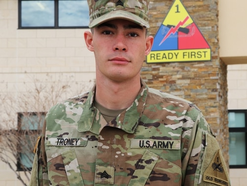 Sgt. Trey Troney of 1st Stryker Brigade Combat Team, 1st Armored Division, saved a man after a traffic accident on Interstate 20 near Sweetwater, Texas, Dec. 22.(Staff Sgt. Killo Gibson/Army)