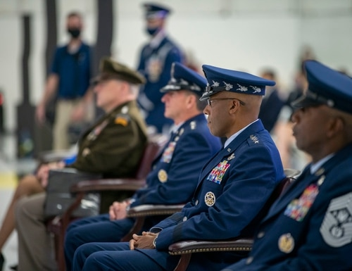 U.S. Air Force Gen. Charles Brown, second from right, succeeded Gen. David Goldfein, third from right, as the service's chief of staff at Joint Base Andrews, Md., on Aug. 6. (Staff Sgt. Jack Sanders/U.S. Air Force)