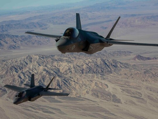 Marines with Marine Fighter Attack Squadron 314 conduct a new expeditionary landing demonstration on Marine Corps Air Ground Combat Center Twentynine Palms, California, in December 2020. (Cpl. Cervantes, Leilani/Marine Corps)