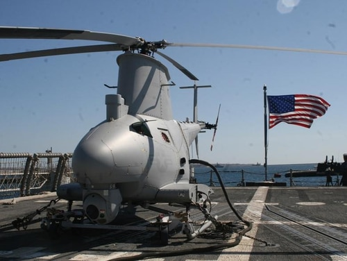 An unmanned MQ-8B Fire Scout helicopter clipped a building and crashed on a Navy base last month, one of at least four reported Class A mishaps in naval aviation in August. (Navy)