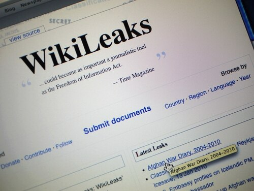 MIAMI - JULY 26: The homepage of the WikiLeaks.org website is seen on a computer after leaked classified military documents were posted to it July 26, 2010 in Miami, Florida. WikiLeaks, an organization based in Sweden which publishes anonymous submissions of sensitive documents from governments and other organizations, released some 91,000 classified documents that span the past six years of U.S. combat operations in the war Afghanistan. (Photo Illustration by Joe Raedle/Getty Images)