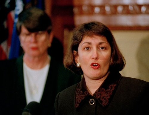 Jamie Gorelick, accompanied by Attorney General Janet Reno, meets reporters at the Justice Department in Washington, Feb. 23, 1994, after Reno announced that President Clinton will nominate Gorelick to become deputy attorney general. If confirmed, Gorelick, currently the Pentagon's top lawyer, will replace Philip Heymann, who resigned in January. (AP Photo/Shayna Brennan)