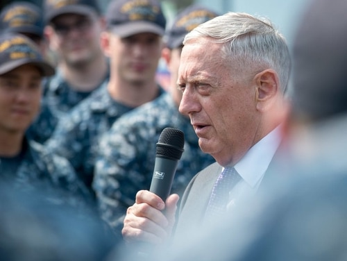 Secretary of Defense Jim Mattis, seen here speaking with sailors, is proposing a massive overhaul of the way the Navy deploys its ships and sailors. (DoD photo)