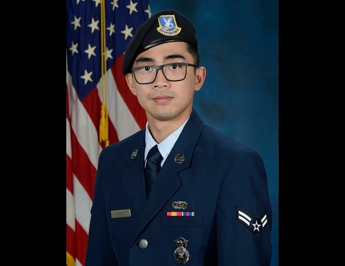 Senior Airman Jason Khai Phan, assigned to the 66th Security Forces Squadron, was photographed in 2019 as an airman first class. Phan, of Anaheim, Calif., died as a result of non-combat related injuries while conducting a routine patrol outside the perimeter of Ali Al Salem Air Base, Kuwait, Sept. 12. (Air Force)