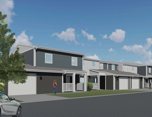Conceptual exterior illustration of the renovations 170 New Hammond Heights homes will receive as part of the $87.4 million development project underway at Fort Campbell, Ky. (Lendlease)