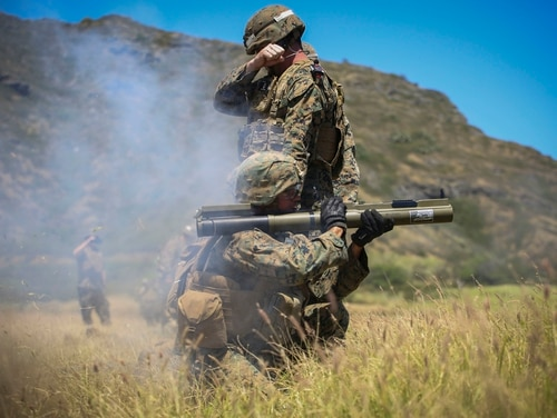 A rifleman with Bravo Company, 1st Battalion, 3rd Marine Regiment, fires an M72 light anti-tank weapon toward armored targets during the Advanced Infantry Marine Course at Kaneohe Bay Range Training Facility aboard Marine Corps Base Hawaii, March 31, 2017. (Cpl. Jesus Sepulveda Torres/Marine Corps)