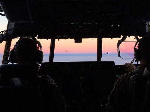 C-130s take flight during the exercise Mobility Guardian last Wednesday near Seattle. (Charlsy Panzino/Staff)