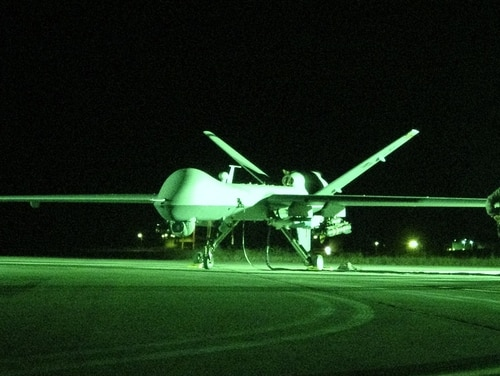 MQ-9 Reapers started flying from Mirosławiec Air Base, Poland, in May in an unarmed ISR role. (Senior Master Sgt. Robert Shepherd/Air Force)