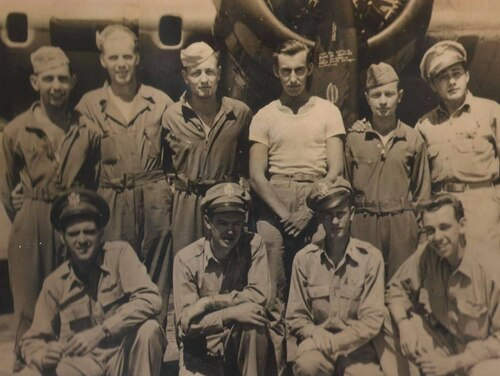 Staff Sgt. Bernard Eldon Snow, top row and third from the left, was shot down by a German fighter near Hoorn, Holland on Oct. 14, 1943, during World War II. He was a POW for the rest of the war. (Photo courtesy of Purple Hearts Reunited)