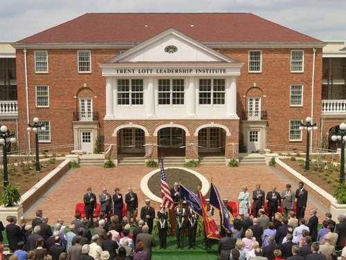 The 2004 dedication of the university's Trent Lott Leadership Institute. (Robert Jordan/AP)