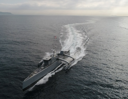 DARPA completed its Anti-Submarine Warfare Continuous Trail Unmanned Vessel program and then transferred the technology demonstration vessel, christened Sea Hunter, to the Office of Naval Research. (U.S. Defense Advanced Research Projects Agency)