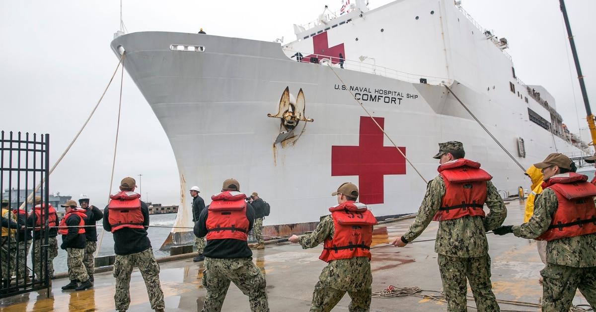 COVID-19 screening uncertainty looms over USNS Comfort as Trump bids sailors 'bon voyage'