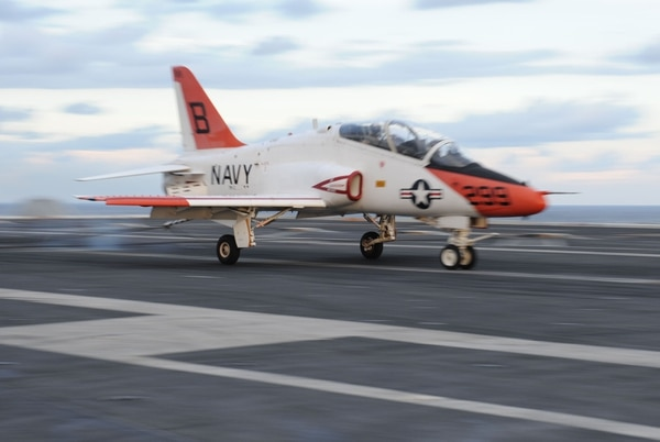 A T-45C Goshawk assigned to Training Air Wing 1 from Meridian, Miss., is launched from the flight deck of the aircraft carrier Theodore Roosevelt. (MCSN Jennifer Fournier/Navy)