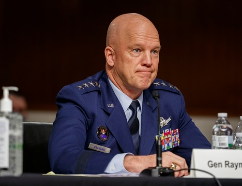 In this May 6, 2020, file photo, U.S. Space Force Gen. John Raymond testifies before the Senate Armed Services Committee hearing on Capitol Hill in Washington. (Shawn Thew/Pool via AP, File)
