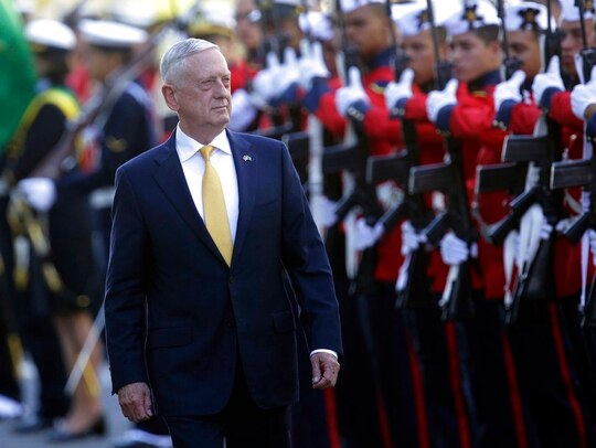 U.S. Secretary of Defense Jim Mattis receives military honors before his meeting with Brazil's defense minister, in Brasilia, on Monday. (Eraldo Peres/AP)