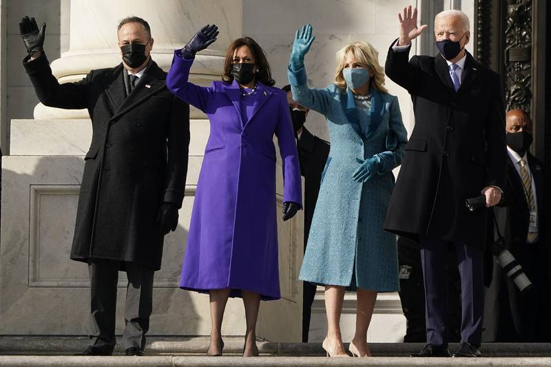 President-elect Joe Biden, his wife Jill Biden and Vice President-elect Kamala Harris and her husband Doug Emhoff arrive at the steps of the U.S. Capitol for the start of the official inauguration ceremonies, in Washington, Wednesday, Jan. 20, 2021.