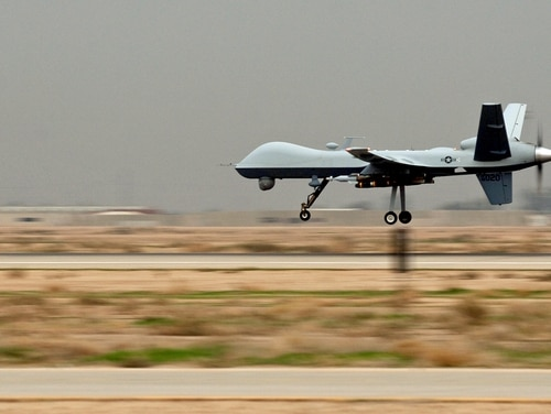 An MQ-9 Reaper unmanned aerial vehicle lands at Joint Base Balad, Iraq, on November 10, 2017. Reapers are remotely piloted and can linger over battlefields, providing persistent strike capabilities to ground force commanders. This Reaper is deployed to the 46th Expeditionary Reconnaissance and Attack Squadron from Creech Air Force Base, Nev. (Sgt. Erik Gudmundson/U.S. Air Force)