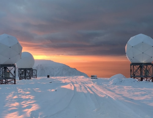 The OneWeb gateway in Svalbard, Norway, capable of 10,000 hand-offs per second, is one of the gateways developed by Hughes that will orchestrate handover and tracking of gigabits of data for NORTHCOM. (OneWeb/Kongsberg Satellite Service)