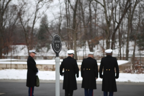Marines from Marine Barracks Washington line up waiting for the funeral procession in the newly opened section 82 in Arlington National Cemetery, where R. Lee Ermey was laid to rest Jan. 18. (Andrea Scott/Staff)