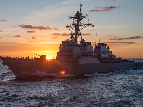 The Arleigh Burke-class destroyer USS John Paul Jones at sunset. The Navy is moving to slash five Flight III Arleigh Burkes from their five-year budget plans. (U.S. Navy photo by MC3 Kyle Merritt)