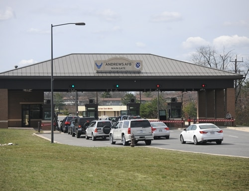 A suspect is in custody after making a bomb threat at the main gate of Joint Base Andrews in Maryland Friday afternoon. (Airman 1st Class J.D. Maidens/Air Force)