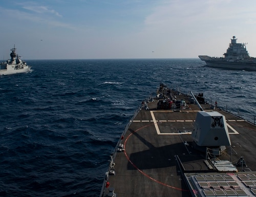 The U.S. Navy has new plans for managing its networks for its joint war-fighting approach, Project Overmatch. (Mass Communication Spc. Seaman Drace Wilson/U.S. Navy)