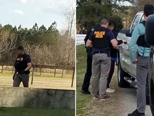 The Naval Criminal Investigative Service released a pair of blurred images in late February showing special agents and Virginia Beach Police Department officers detaining a suspect who allegedly used a strobe light to target aircraft at Naval Air Station Oceana. Lou Ella Moore pleaded guilty Thursday to misdemeanor interference with aircraft operations. (NCIS)
