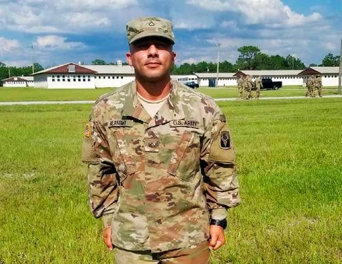 This July 12, 2018, photo provided by Jaime Lugo shows Haeder Al Anbki at Camp Blanding in Jacksonville, Fla. (Jaime Lugo via AP)