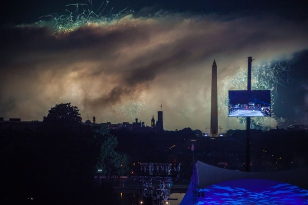 View of the Mall and Independence Day fireworks as seen by the Wounded Warrior Project guests from the West Terrace of the US Capitol in Washington on July 4, 2019. (Rachel Lincoln of Lincoln Photography)