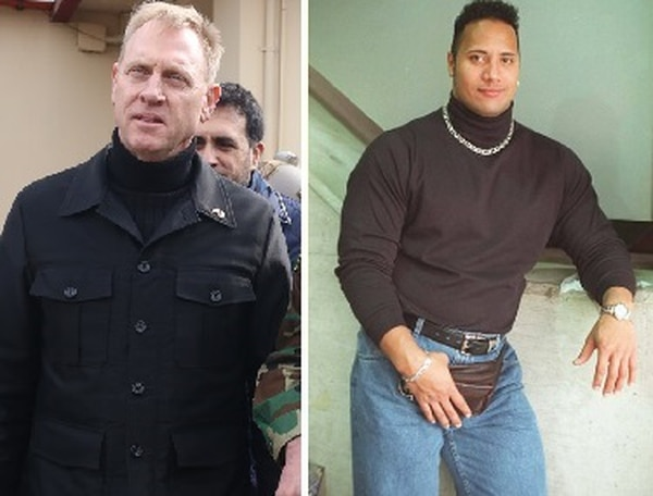 He didn't go for the fanny pack and chain accessories, but still joined Dwayne Johnson in the realm of daring black turtleneck wearers. (The Rock)