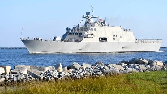 The U.S. Navy littoral combat ship Sioux City arrives at its home port in Mayport, Fla. The U.K. has announced plans for a new littoral strike group, but few details are public. (MC2 Devin Bowser/U.S. Navy)