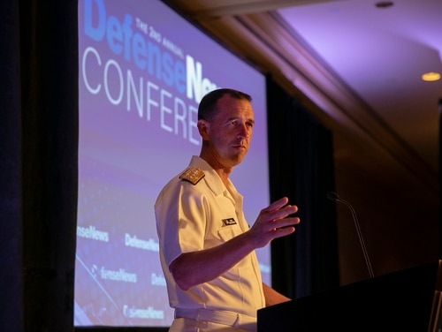 Adm. John Richardson, the Chief of Naval Operations, speaks at the second annual Defense News Conference in Arlington, Va., Sept. 5, 2018. The Defense News Conference brings together military leadership and defense experts to discuss defense strategy, with the upcoming great power competition as this year's focus. (Dustin Diaz/Staff)