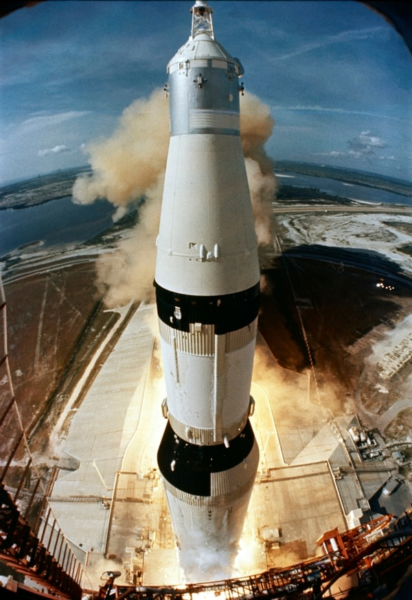 On July 16, 1969, the 363-feet Saturn V rocket carrying the Apollo 11 crew, launches from Pad A, Launch Complex 39, at the Kennedy Space Center in Florida. (NASA via AP)