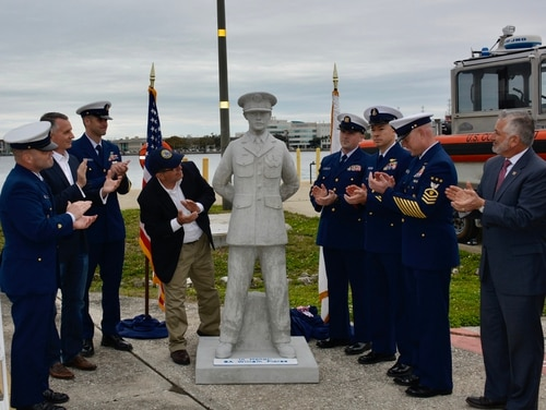 The 6-foot tall, concrete statue of Seaman Apprentice William R. Flores to be added to the Circle of Heroes at Veteran's Reef. (Courtesy of Preston Rudie)