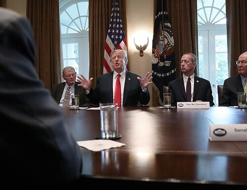 President Donald Trump meets with members of Congress on immigration in the Cabinet Room of the White House, June 20, 2018, in Washington, D.C. The White House is expected to announce a proposed merger between the departments of Education and Labor on Thursday. (Win McNamee/Getty Images)