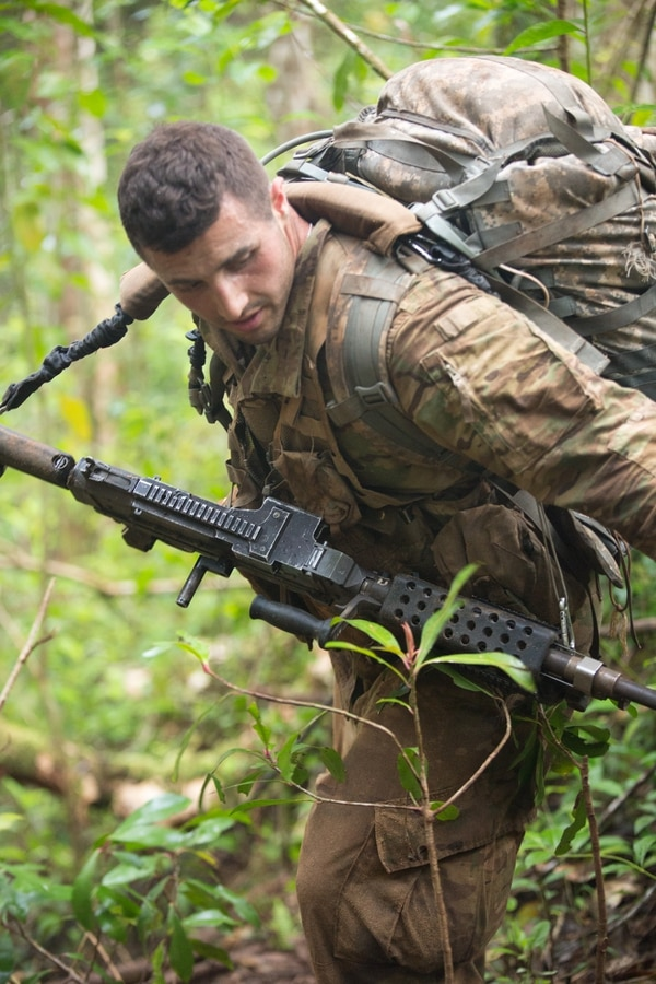 Soldiers of the 25th Infantry Division field test new uniforms designed for the jungle environment.