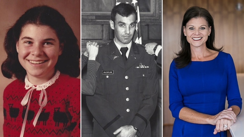 Jennifer Elmore at ages 13 and 48, flanking her father, now retired Army Maj. Gen. James Grazioplene, who in July 2020 pleaded guilty to sexual battery in a Virginia court for years of abuse on his daughter. In May 2021 he was reduced in rank to second lieutenant. (Jennifer Elmore/contributed)