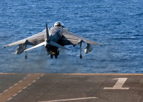 An AV-8B Harrier, with the 22nd Marine Expeditionary Unit (MEU), takes off from the flight deck of the amphibious assault ship USS Wasp (LHD 1) Aug. 8, 2016. The 22nd MEU, embarked on Wasp, is conducting precision air strikes in support of the Libyan Government of National Accord-aligned forces against Daesh targets in Sirte, Libya, as part of Operation Odyssey Lightning. ( by Mass Communication Specialist 3rd Class Rawad Madanat/Navy)